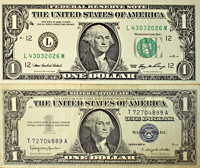 Two images are shown. The bottom image is a silver certificate—U.S. paper currency from 1957 or earlier. The top image is of a modern U.S. currency which no longer indicates that it is commodity-backed, but which is still legal tender for all debts.