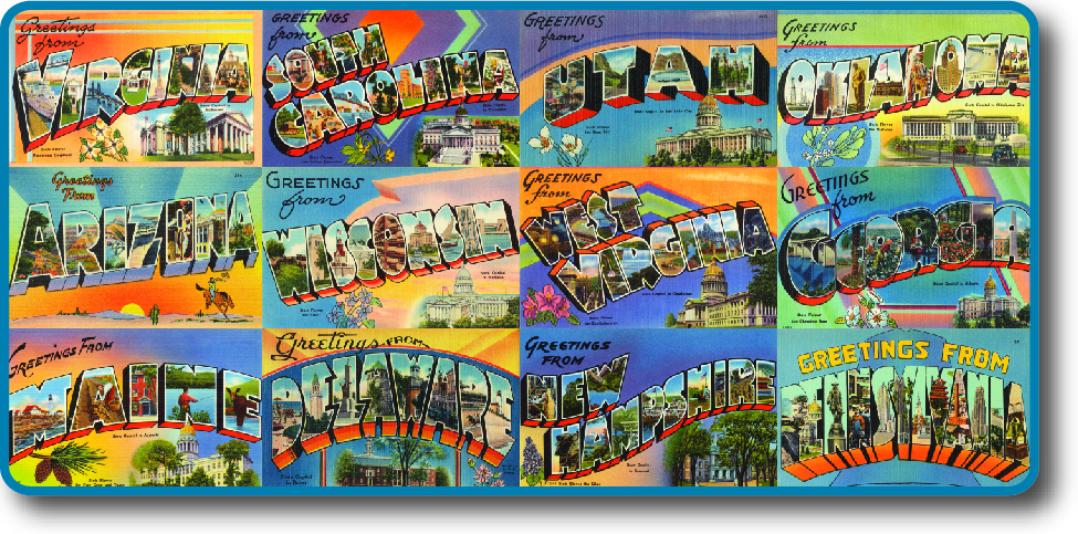 "A series of postcards from different states, with the slogan ""Greetings From"" above each state's name. Iconic images and scenery decorates each states' postcard. States includes are Virginia, South Carolina,Utah, Oklahoma, Arizona, Wisconsin, West Virginia, Georgia, Maine, Delaware, New Hampshire, and Pennsylvania."