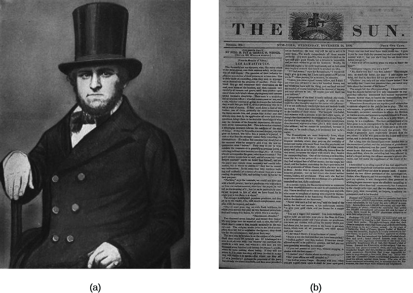 "Image A is of Benjamin Day seated. Image B is of a newspaper titled ""The Sun""."