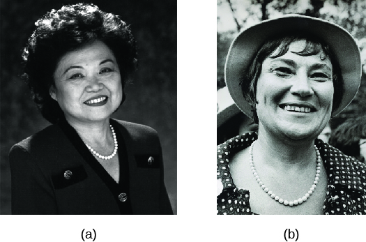 Image A is of Patsy Mink. Image B is of Bella Abzug.