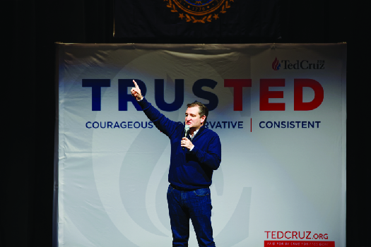 A photo of Ted Cruz giving a speech at a campaign event.