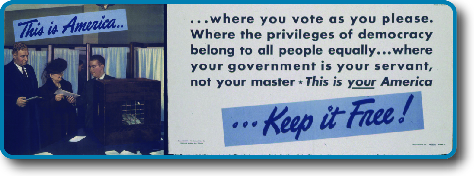 An image of a poster that reads 'This is America where you vote as you please, where the privileges of democracy belong to all people equally, where your government is your servant, not your master. This is your America…Keep it Free!'