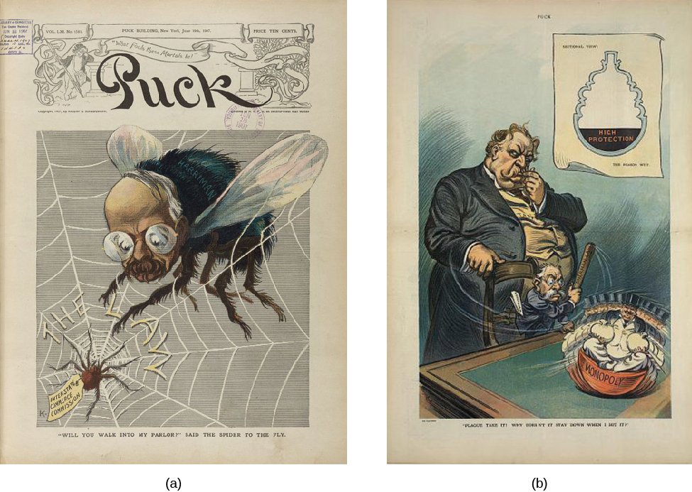"Image A is an illustration of a large fly with a man's face. The fly is stuck in a web labeled ""The Law"". In the center of the web is a spider labeled ""Interstate Commerce Commission"". Under the image, a caption states ""Will you walk into my parlor?"" The Puck magazine title runs across the top of the image. In image B, President William Howard Taft stands behind his attorney general George W. Wickersham as Wickersham tries to beat a ""Monopoly"", depicted as a round bottomed statue of a top hat and tuxedo wearing man, with a stick labeled ""Sherman Law"". The caption under the illustration says ""Why doesn't it stay down when I hit it?"""