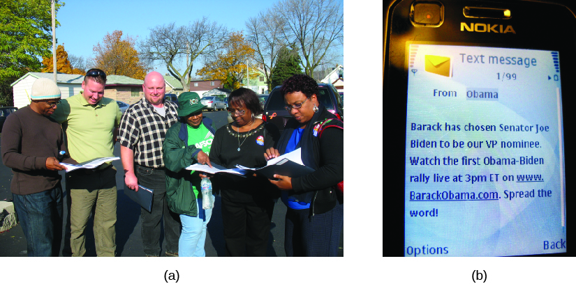 "Image A is of a group of people standing and holding binders. Image B is a screenshot of a cell phone screen. The screen reads ""Text message from Obama. Barack has chosen Senator Joe Biden to be our VP nominee. Watch the first Obama-Biden rally live at 3pm ET on www.BarackObama.com. Spread the word!"""