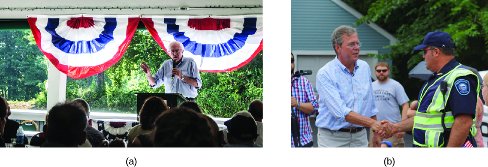 "Image A is of Bernie Sanders speaking to a group of seated people. Image B is of John Ellis ""Jeb"" Bush shaking hands with another person."