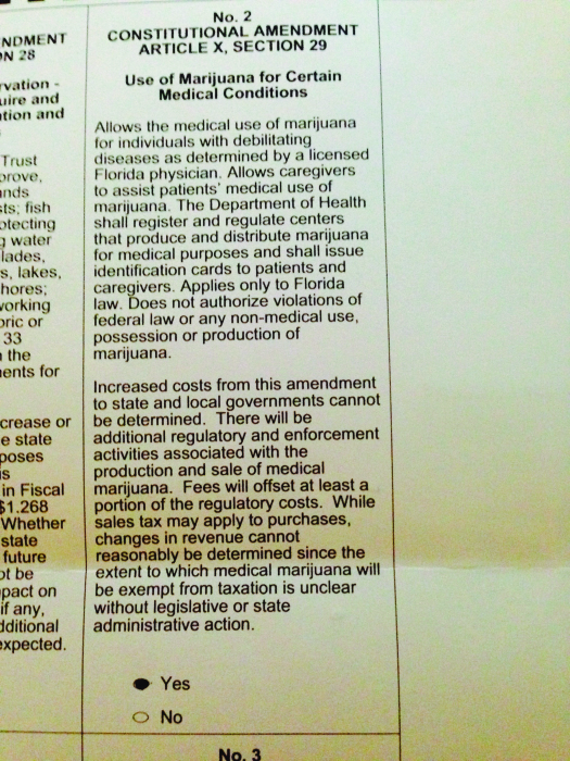 "A image of a ballot that reads ""No. 2 Constitutional Amendment Article X, Section 29. Use of Marijuana for Certain Medical Conditions."""