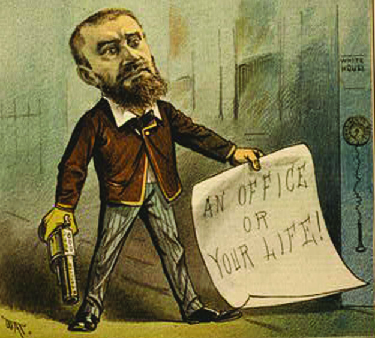 "A cartoon of Charles J. Guiteau holding a pistol and a piece of paper that says ""An office or your life!"""