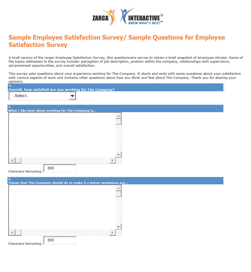 A sample employee satisfaction survey