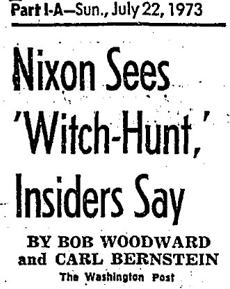 """Newspaper article saying """"Nixon Sees Witch-hunt"""""""