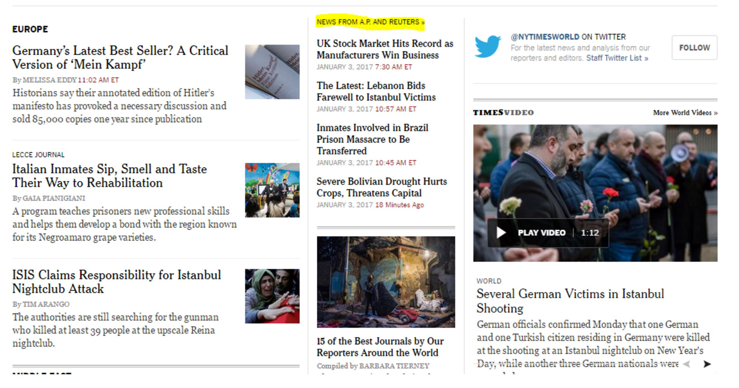 New York Times webpage