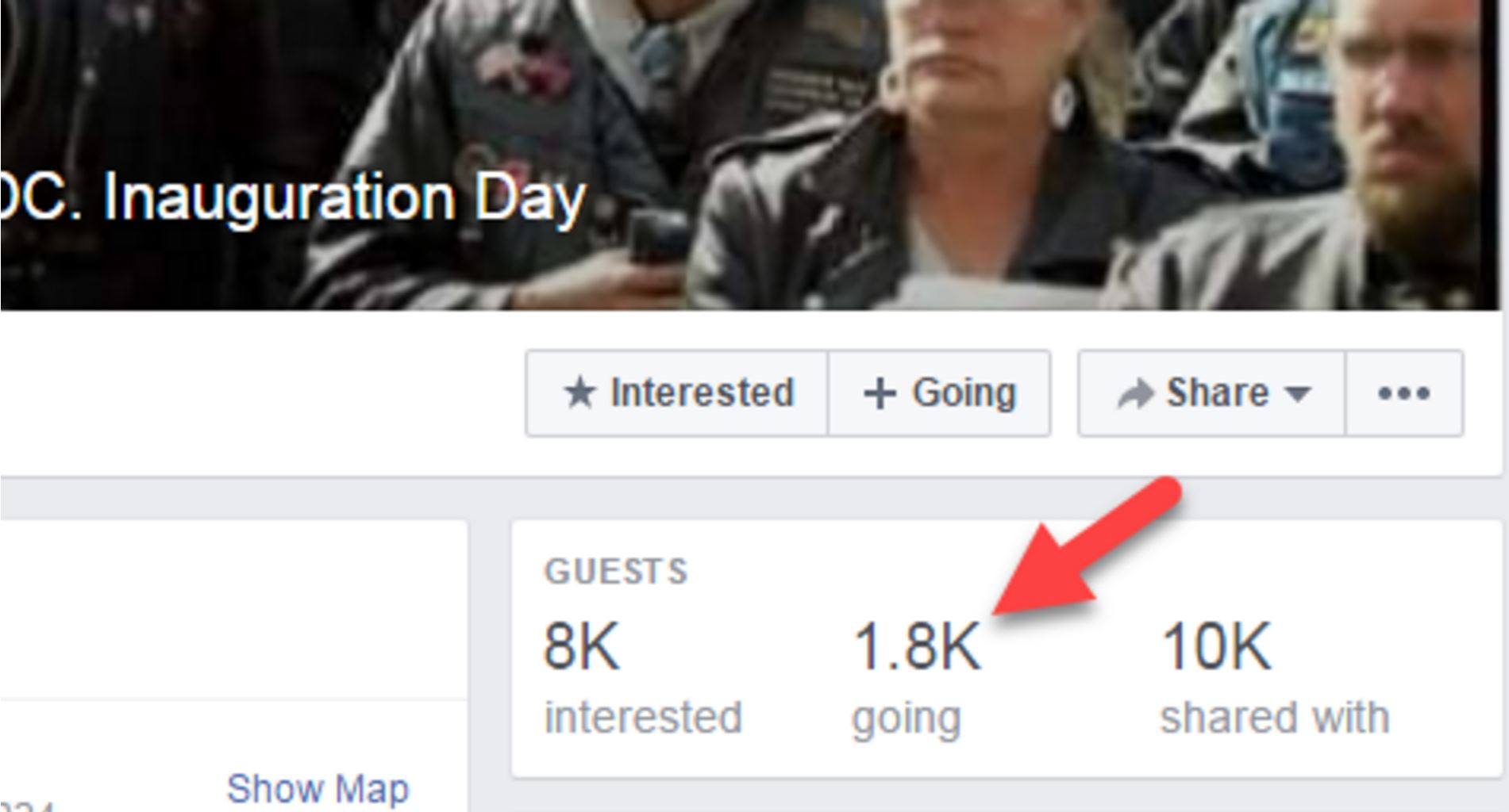 The bikers' Facebook page with event statistics.