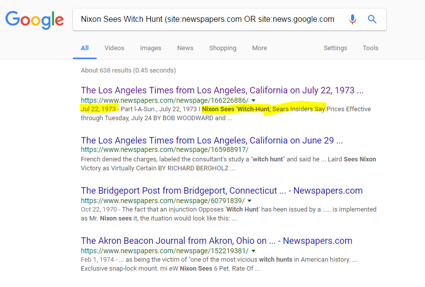 Screenshot of search results with positive hit on story on top